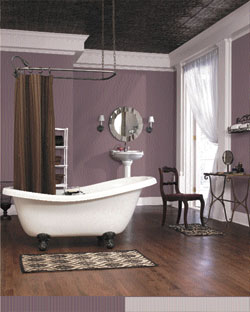 Tips tricks from the color company color company blog for Purple and brown bathroom ideas
